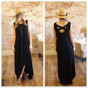 Black high low maxi dress with cross back